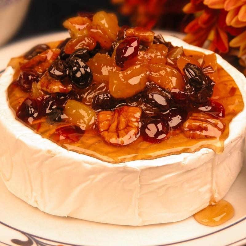 Brie with Pecan and Dried Fruit Glaze
