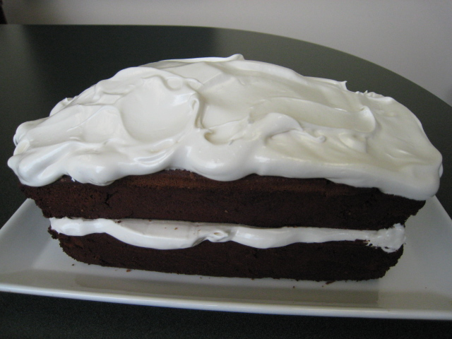 Chocolate Pound Cake with Fluffy Frosting