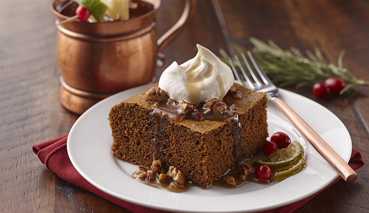 Gingerbread Cake with Moscow Mule Pecan Pie Syrup